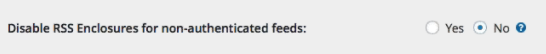 """Wishlist Member option to disable enclosures in RSS feeds - Select """"no"""" for podcasting."""
